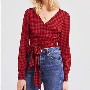 Urban Outfitters Cropped Gingham Wrap Blouse Small